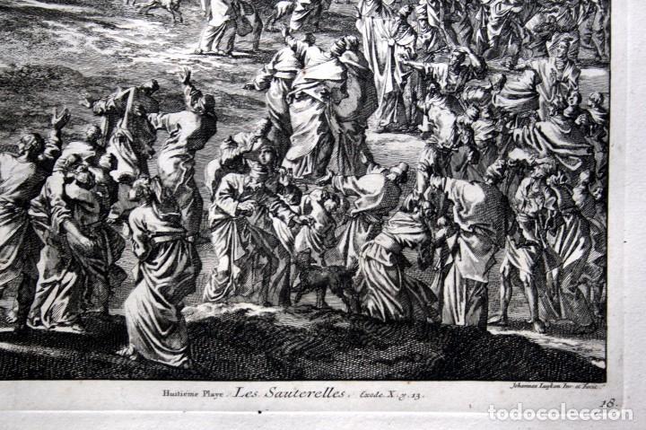 Arte: 1729 - BIBLIA - 8ª PLAGA DE EGIPTO - LAS LANGOSTAS - LUYKEN - ENGRAVING - GRAVURE - Foto 3 - 80629622