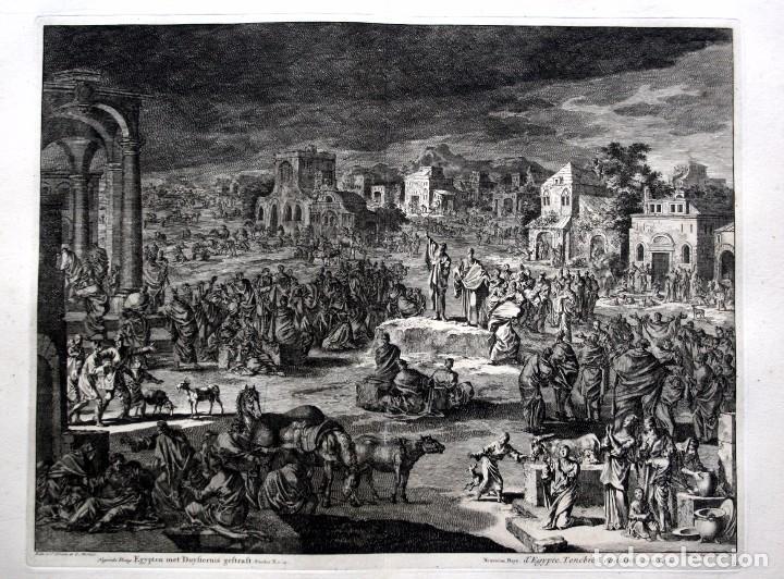 1729 - BIBLIA - 9ª PLAGA DE EGIPTO - TINIEBLAS Y OSCURIDAD - LUYKEN - ENGRAVING - GRAVURE (Arte - Arte Religioso - Grabados)