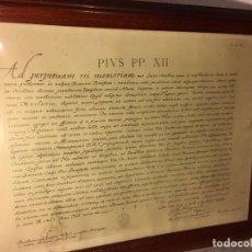 Arte: RM1 CUADRO ENMARCADO PIVS PP. XII MED. BR. AP. 143/51 AD PERPETUAM REI MEMORIAM MARCO 45X57. Lote 80757658