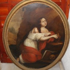 Arte: OLEO SOBRE LIENZO. OVALADO. PINTURA RELIGIOSA CON CARABELA. S.XIX. (120 CM X 90 CM). Lote 80766858