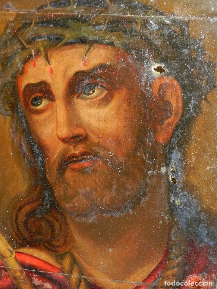 (M) ANTIGUA PINTURA RELIGIOSA COLONIAL SOBRE TELA ADHERIDA A UNA MADERA DE CEDRO . S. XVIII. (Arte - Arte Religioso - Pintura Religiosa - Oleo)