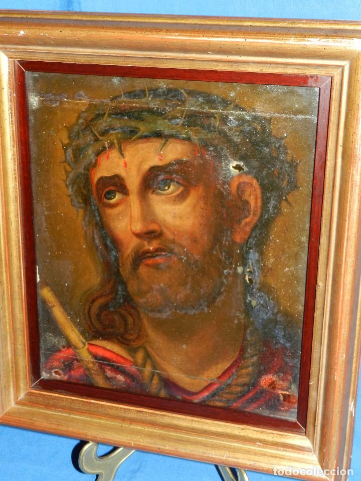 Arte: (M) ANTIGUA PINTURA RELIGIOSA COLONIAL SOBRE TELA ADHERIDA A UNA MADERA DE CEDRO . S. XVIII. - Foto 2 - 80855015