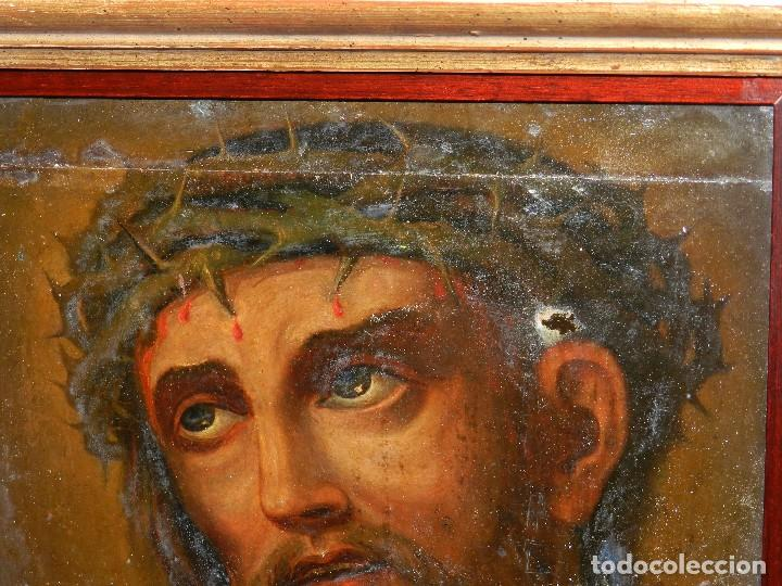 Arte: (M) ANTIGUA PINTURA RELIGIOSA COLONIAL SOBRE TELA ADHERIDA A UNA MADERA DE CEDRO . S. XVIII. - Foto 3 - 80855015