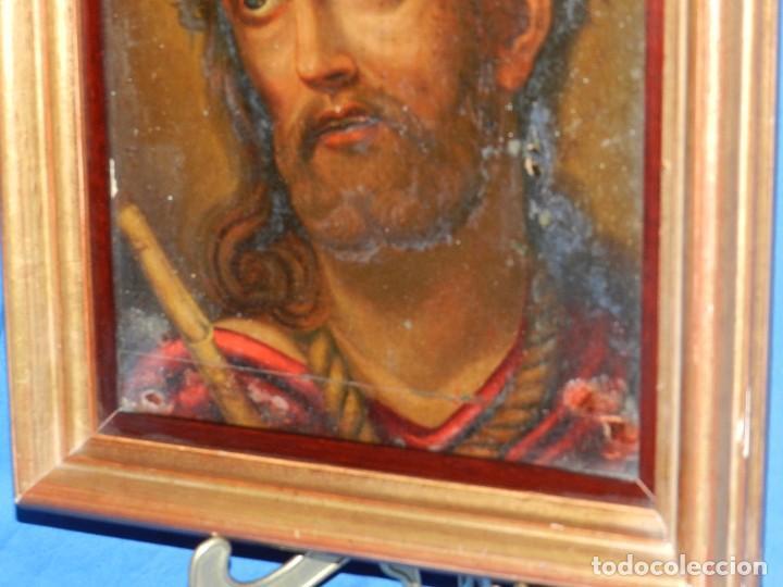 Arte: (M) ANTIGUA PINTURA RELIGIOSA COLONIAL SOBRE TELA ADHERIDA A UNA MADERA DE CEDRO . S. XVIII. - Foto 5 - 80855015