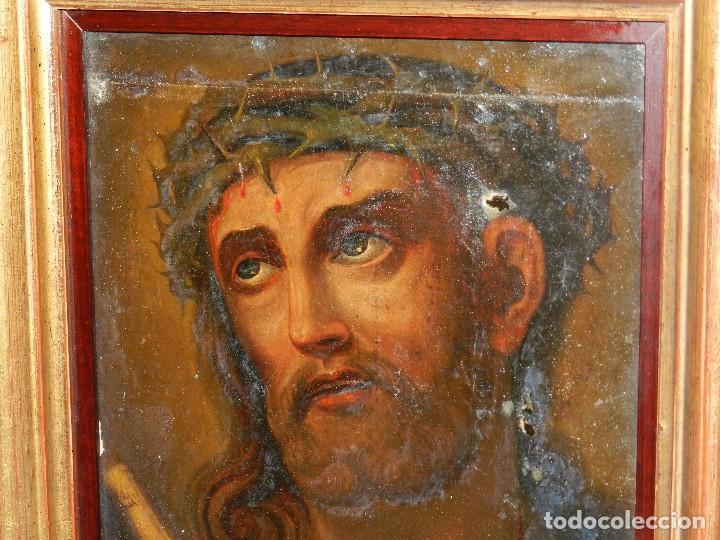 Arte: (M) ANTIGUA PINTURA RELIGIOSA COLONIAL SOBRE TELA ADHERIDA A UNA MADERA DE CEDRO . S. XVIII. - Foto 6 - 80855015