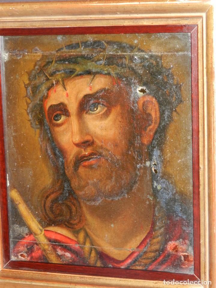 Arte: (M) ANTIGUA PINTURA RELIGIOSA COLONIAL SOBRE TELA ADHERIDA A UNA MADERA DE CEDRO . S. XVIII. - Foto 7 - 80855015
