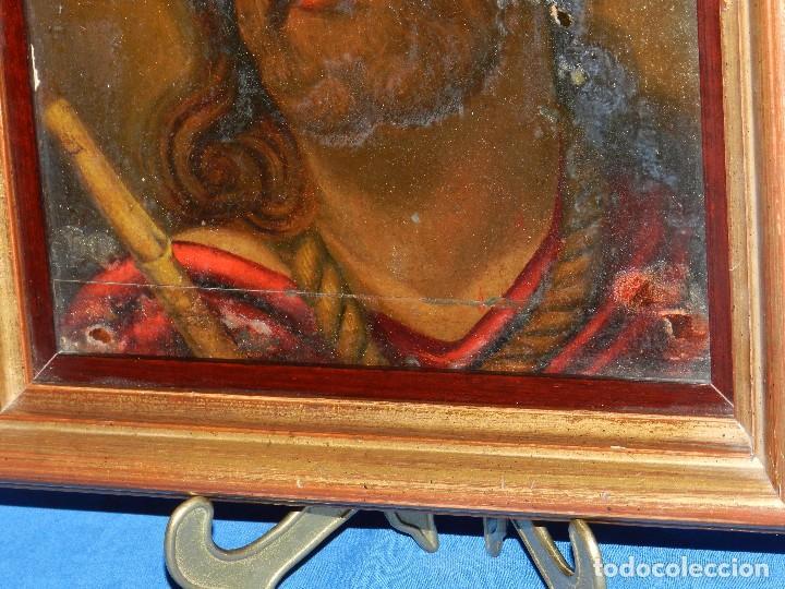 Arte: (M) ANTIGUA PINTURA RELIGIOSA COLONIAL SOBRE TELA ADHERIDA A UNA MADERA DE CEDRO . S. XVIII. - Foto 8 - 80855015