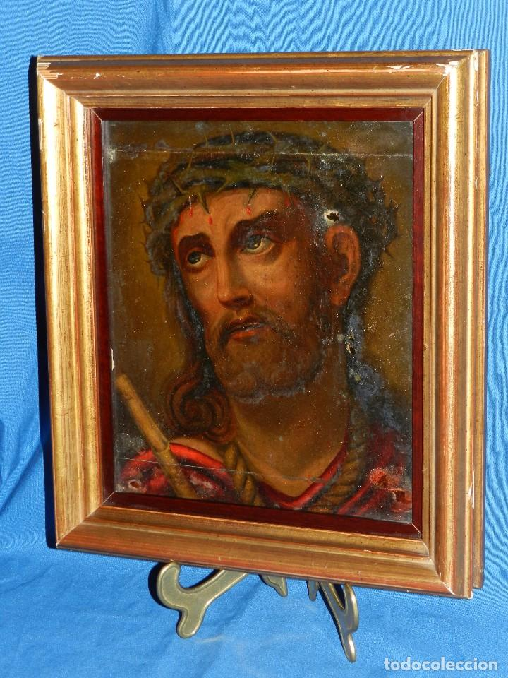 Arte: (M) ANTIGUA PINTURA RELIGIOSA COLONIAL SOBRE TELA ADHERIDA A UNA MADERA DE CEDRO . S. XVIII. - Foto 9 - 80855015