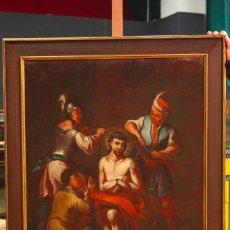 Arte: ANTIGUA PINTURA RELIGIOSA CORONACIÓN DE CRISTO DEL SIGLO XVIII. Lote 80982700