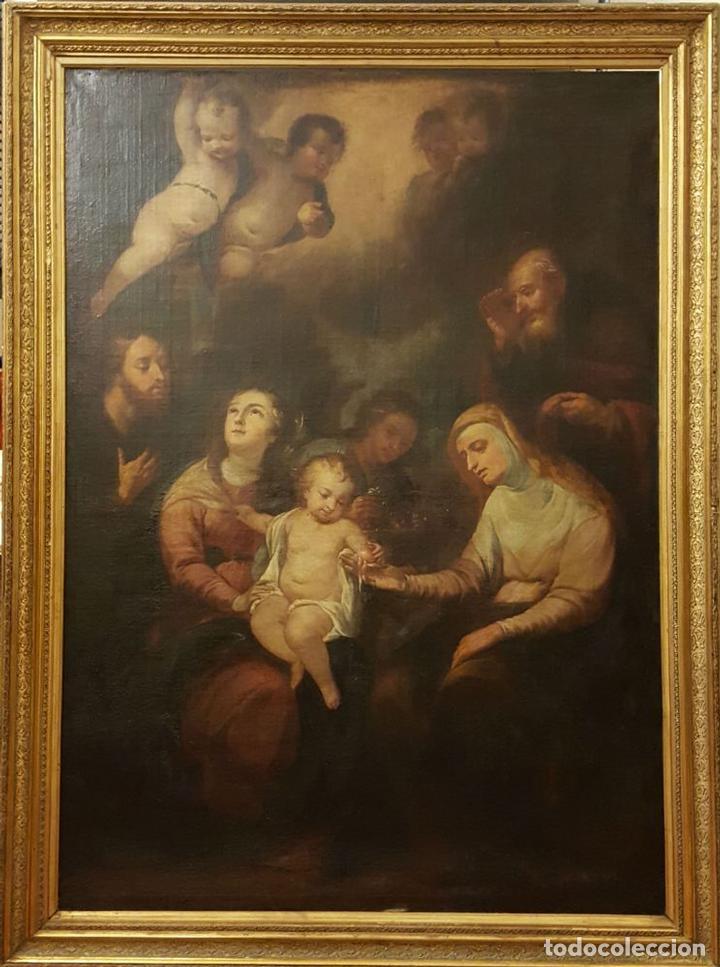 SAGRADA FAMILIA. ESCUELA DE MURILLO. ÓLEO SOBRE LIENZO. ESPAÑA. SIGLO XVIII. (Arte - Arte Religioso - Pintura Religiosa - Oleo)