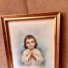 Arte: CUADRO DE NIÑO JESUS ENMARCADO EN ORO DE LOS AÑOS 60. Lote 79069734