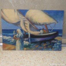 Arte: PINTURA, OLEO SOBRE CARTON DE PINTOR ILICITANO ( SAN JUAN ) ESCENA EN EL MAR.. Lote 81217492