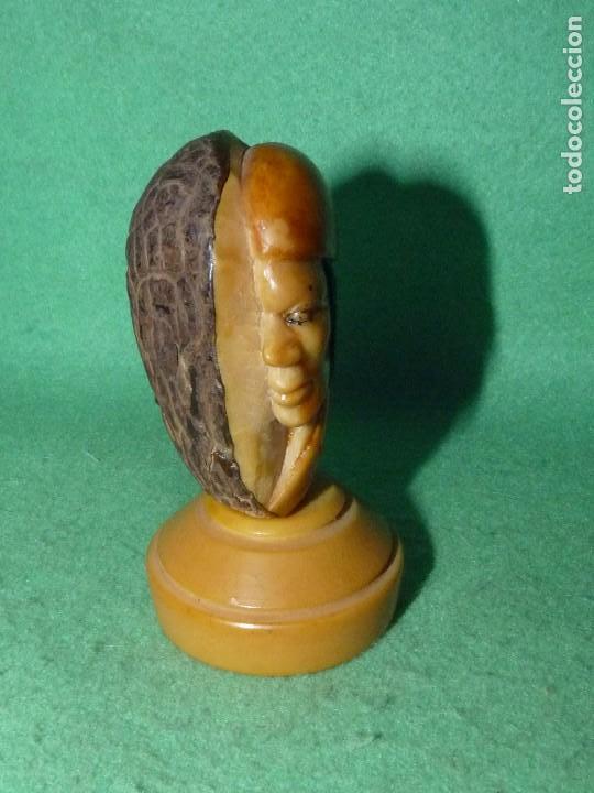 Arte: Fantástico retrato perfil tallado Marfil Vegetal cara personaje antigua semilla tagua - Foto 4 - 81255512