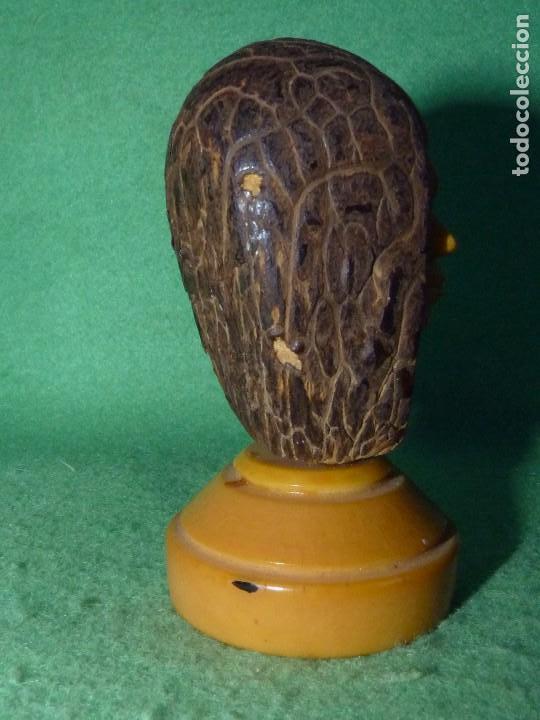 Arte: Fantástico retrato perfil tallado Marfil Vegetal cara personaje antigua semilla tagua - Foto 5 - 81255512