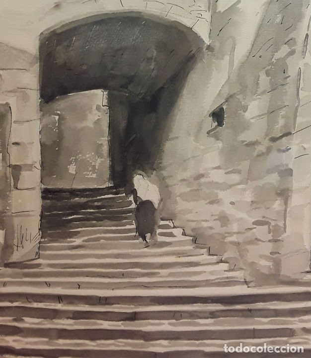 Arte: CALLE ANTIGUA. ACUARELA. RAMON MARTÍ FARRERAS (?). GIRONA. ESPAÑA (?). 1952. - Foto 2 - 81280000