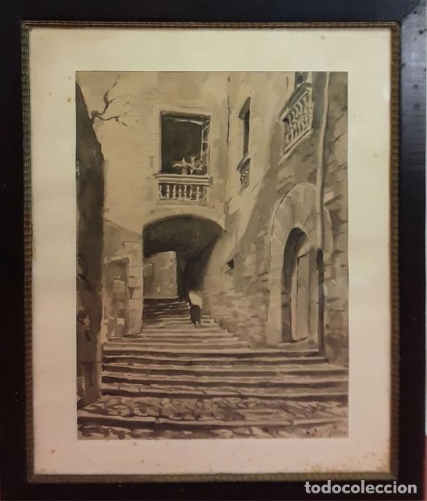 Arte: CALLE ANTIGUA. ACUARELA. RAMON MARTÍ FARRERAS (?). GIRONA. ESPAÑA (?). 1952. - Foto 6 - 81280000