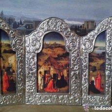 Arte: VISITA DE LOS REYES MAGOS. TRÍPTICO RELIGIOSO ENMARCADO EN METAL REPUJADO ARTESANALMENTE. Lote 81637236