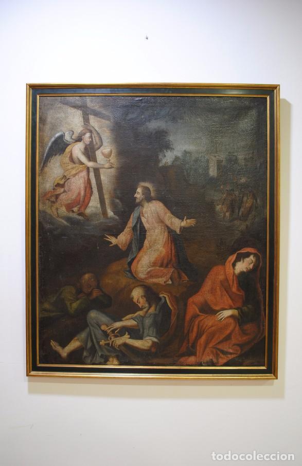 ÓLEO ANTIGUO LA ORACIÓN DE JESÚS EN EL HUERTO (Arte - Arte Religioso - Pintura Religiosa - Oleo)