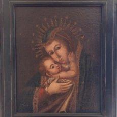 Arte: VIRGEN CO NIÑO , ANONIMO SIGLO XIX , OLEO S/LIENZO MED. 56 X 45 CMS. . Lote 81767612