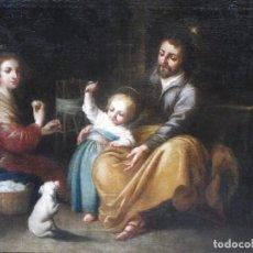 Art: SAGRADA FAMILIA DEL PAJARITO S-XVII CÍRCULO DE MURILLO. Lote 81945640