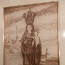 Arte: NUESTRA SEÑORA DE LA CABEZA, GRABADO, HUELLA DE 26X18,TOTAL CON MARCO 43X35, AÑO 1990. Lote 81954112