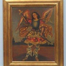 Arte: BONITO OLEO S/ LIENZO. ARCANGEL SAN MIGUEL. ESCUELA CUZQUEÑA. Lote 81979120