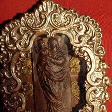Arte: VIRGEN TERRACOTA EN HORNACINA METAL. C.1920.. Lote 82036820
