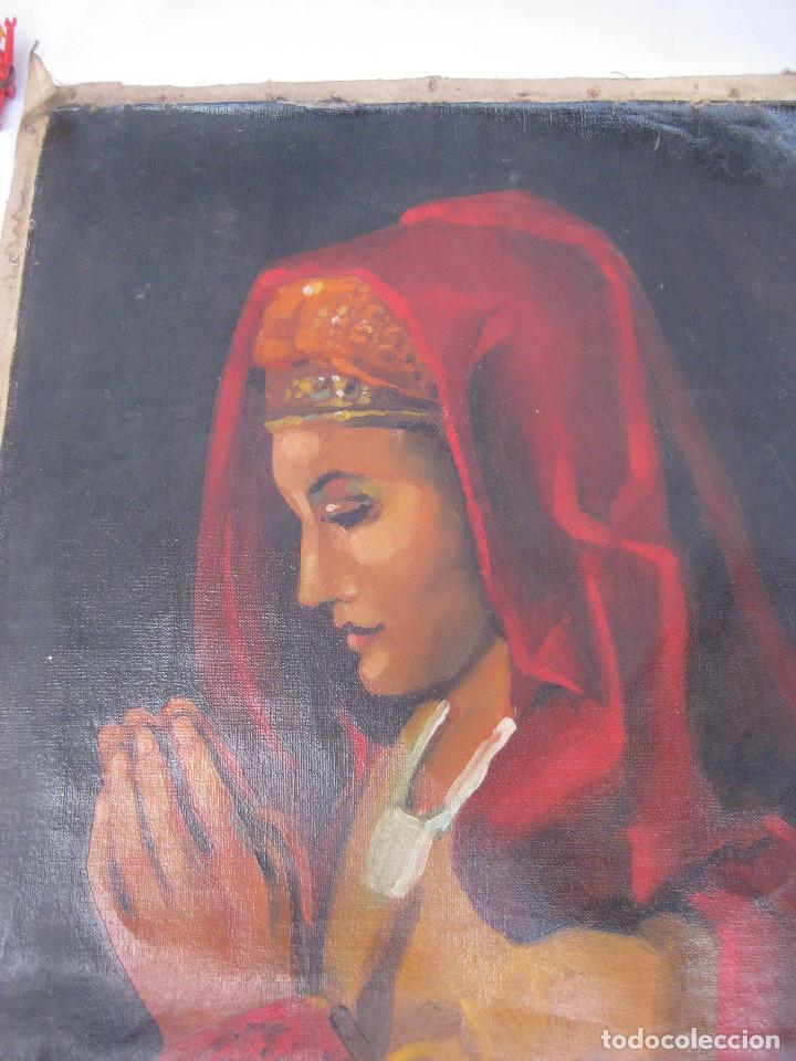 Arte: BONITA PINTURA AL OLEO ANTIGUA IMAGEN VIRGEN O MARIA MAGDALENA ? CON MANTILLA REZANDO ANTIGUO - Foto 2 - 82266664