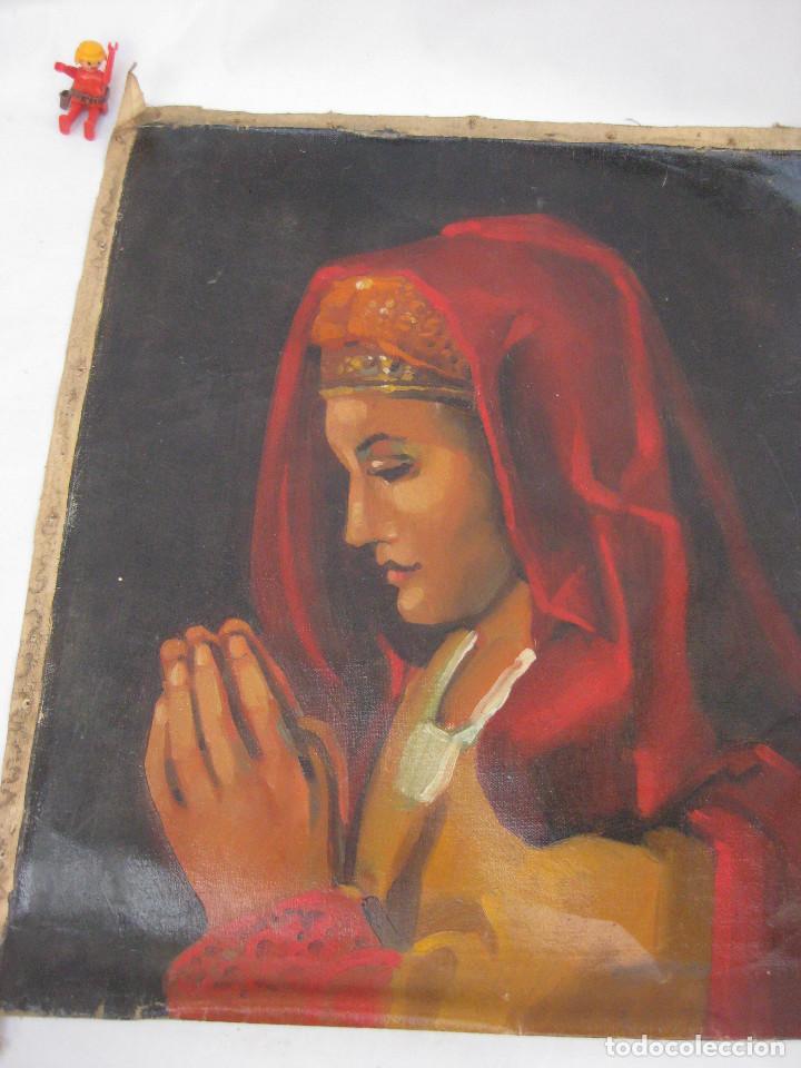Arte: BONITA PINTURA AL OLEO ANTIGUA IMAGEN VIRGEN O MARIA MAGDALENA ? CON MANTILLA REZANDO ANTIGUO - Foto 3 - 82266664
