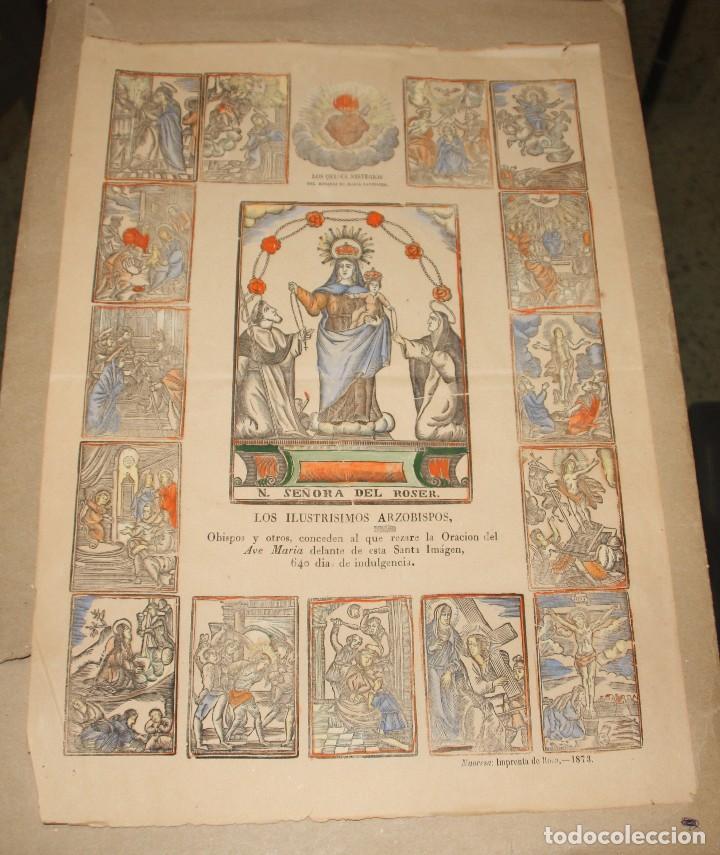 GRABADO IMPRENTA ROCA AÑO 1873 MANRESA N. SEÑORA DEL ROSER. ILUMINADO 43X30,50 (Arte - Arte Religioso - Grabados)