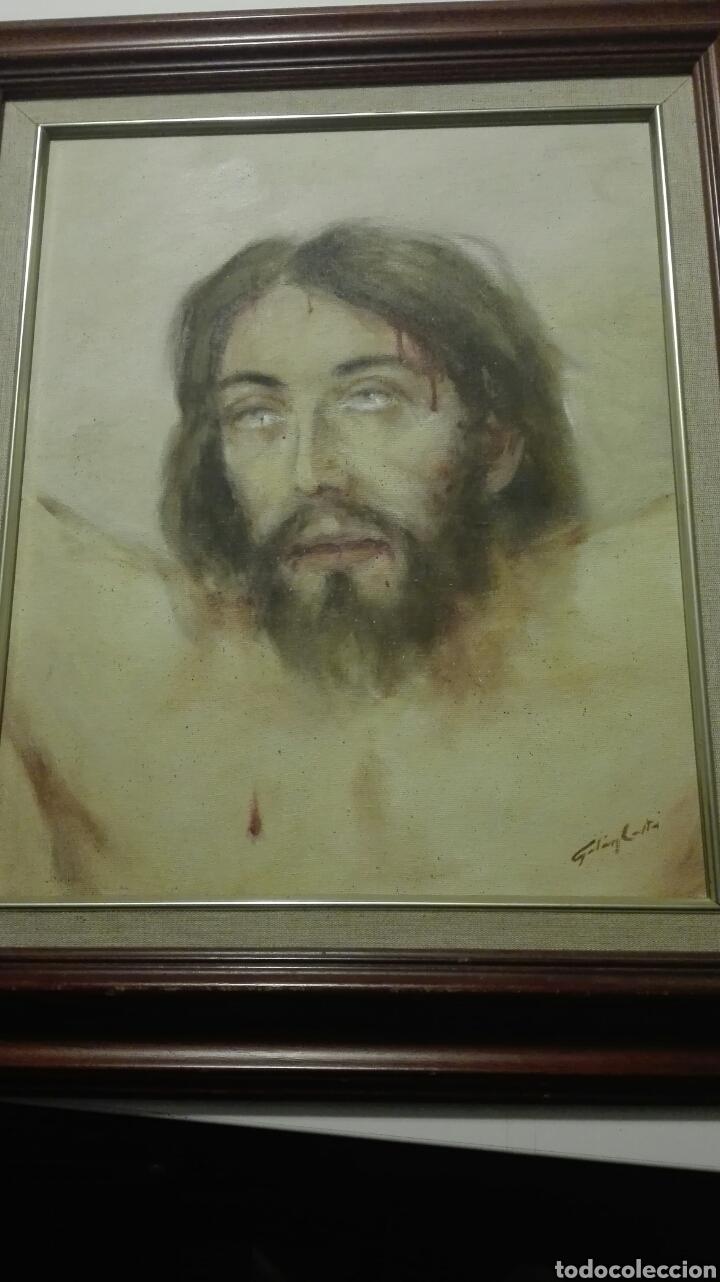 OLEO SOBRE TABLA,ROSTRO CRISTO CRUCIFICADO DEL PINTOR CANARIO GALAN COSTA (Arte - Arte Religioso - Pintura Religiosa - Oleo)
