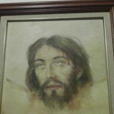 Arte: OLEO SOBRE TABLA,ROSTRO CRISTO CRUCIFICADO DEL PINTOR CANARIO GALAN COSTA. Lote 82358174