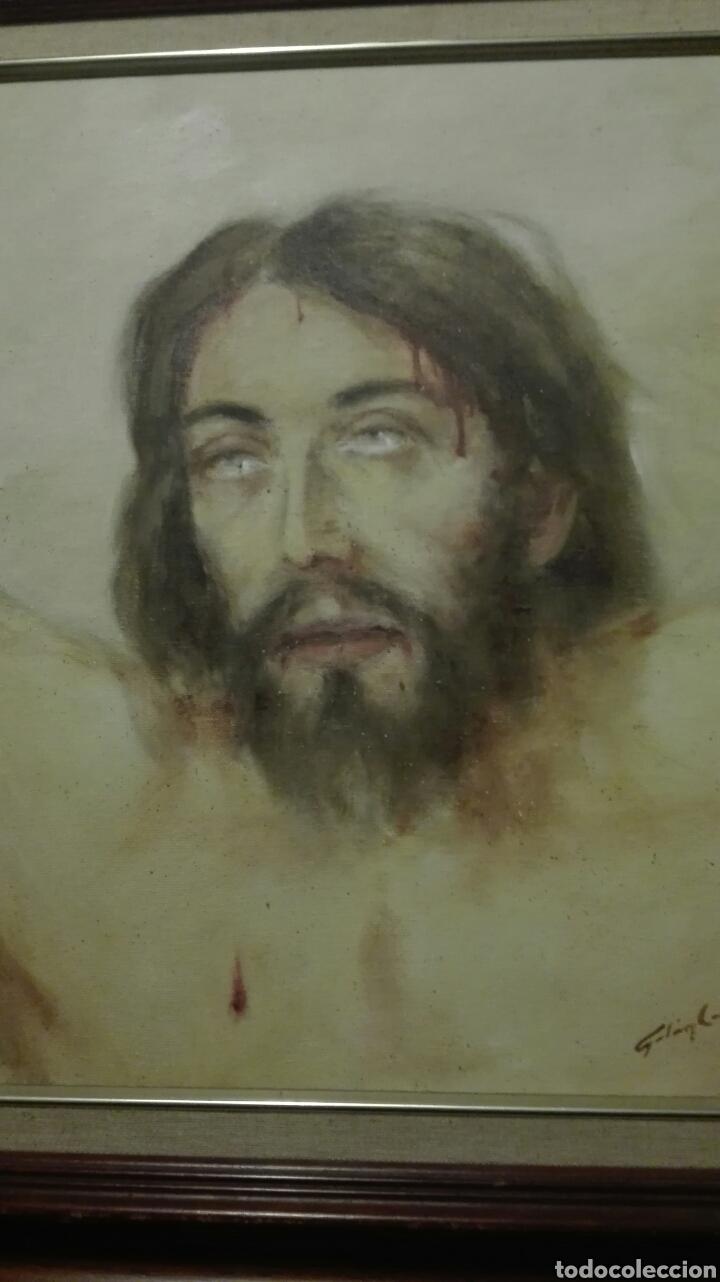 Arte: oleo sobre tabla,rostro cristo crucificado del pintor canario galan costa - Foto 3 - 82358174