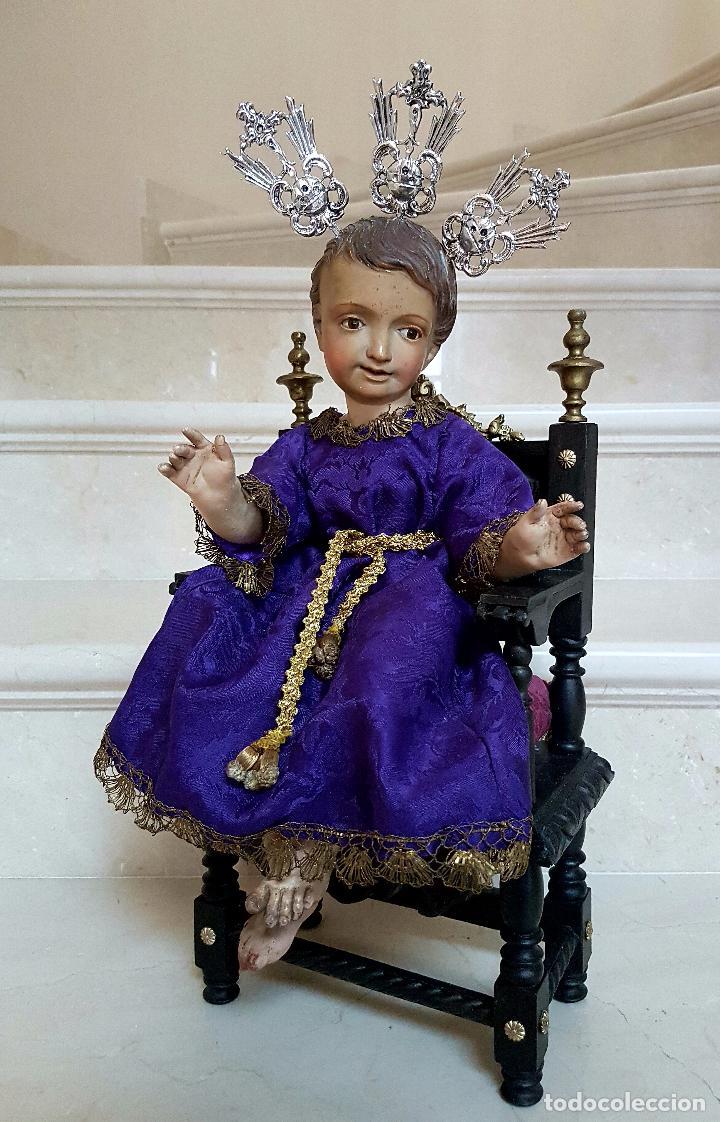 Arte: EXCEPCIONAL NIÑO JESUS EN TALLA DE MADERA ENTRONIZADO,S.XIX - Foto 2 - 82500616