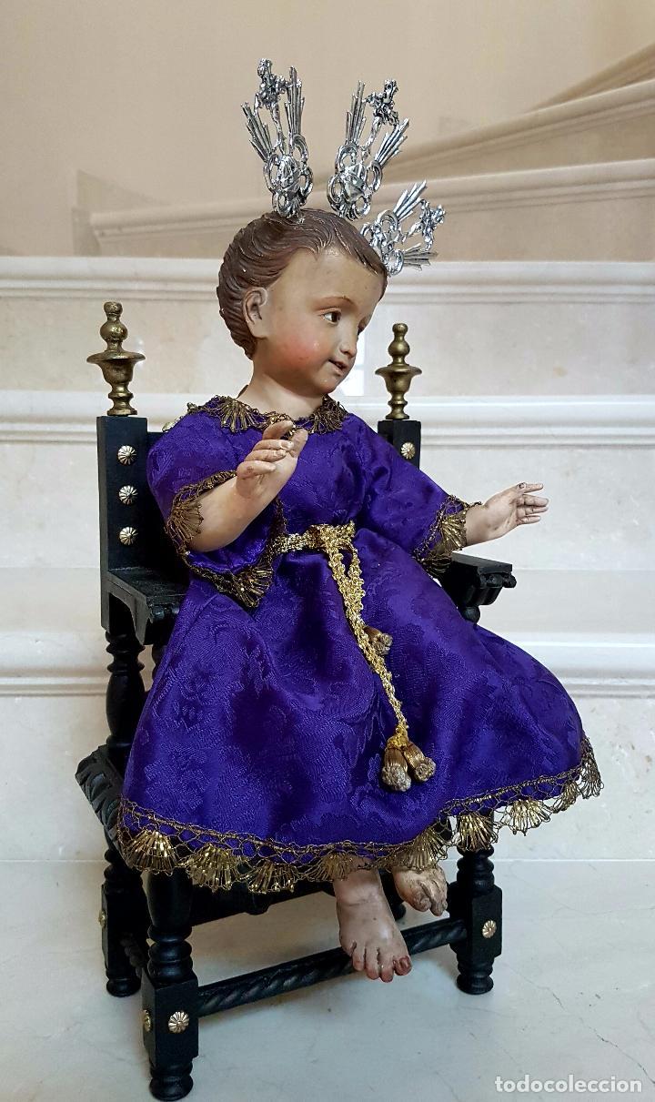 Arte: EXCEPCIONAL NIÑO JESUS EN TALLA DE MADERA ENTRONIZADO,S.XIX - Foto 3 - 82500616