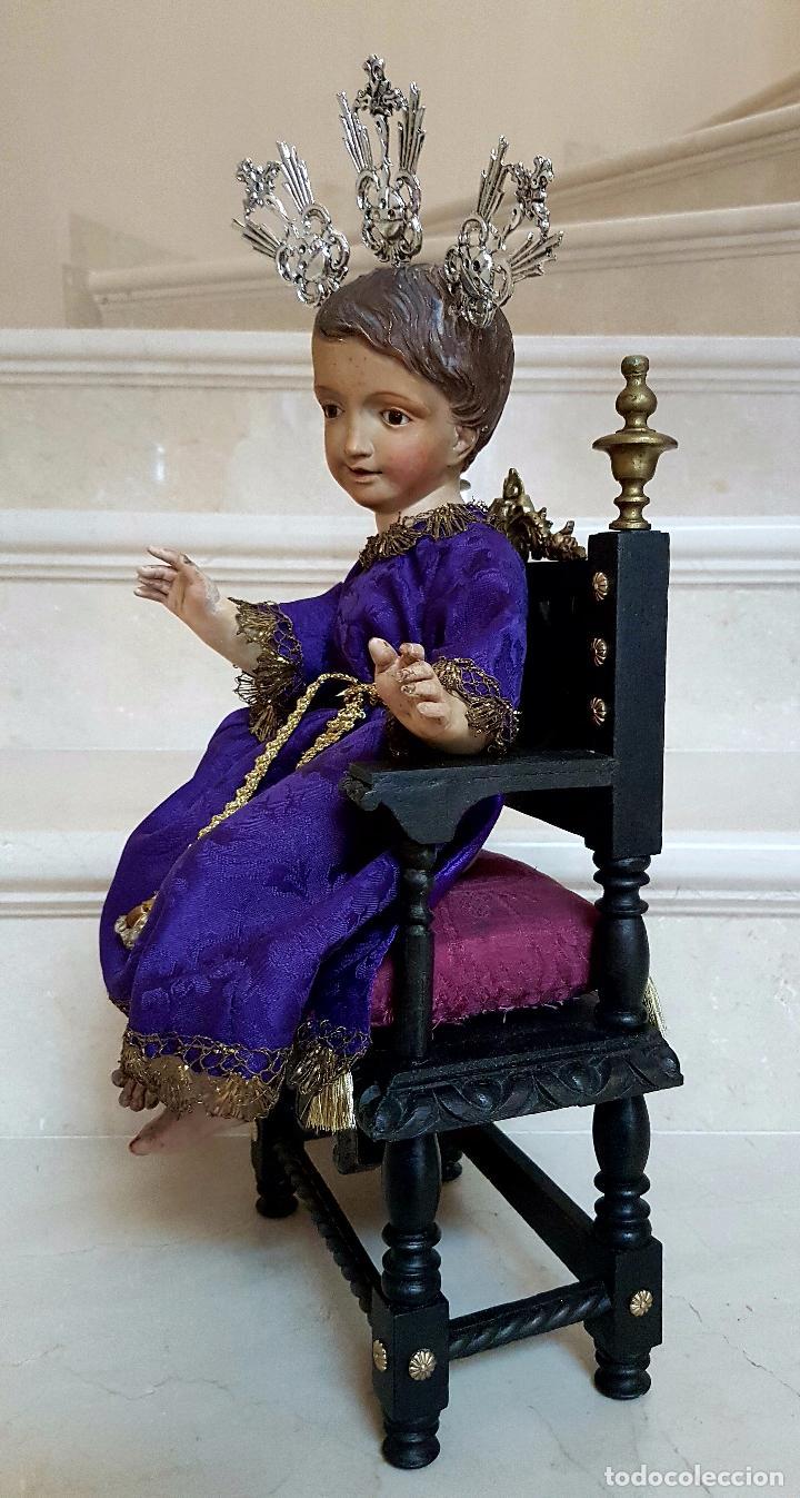 Arte: EXCEPCIONAL NIÑO JESUS EN TALLA DE MADERA ENTRONIZADO,S.XIX - Foto 4 - 82500616