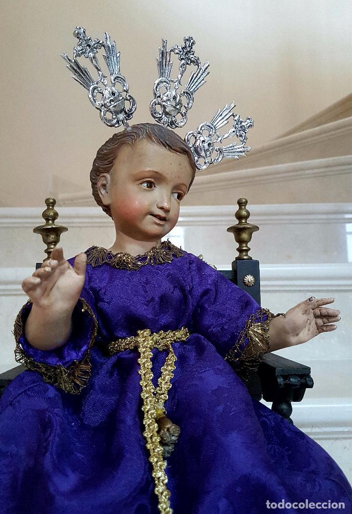 Arte: EXCEPCIONAL NIÑO JESUS EN TALLA DE MADERA ENTRONIZADO,S.XIX - Foto 7 - 82500616