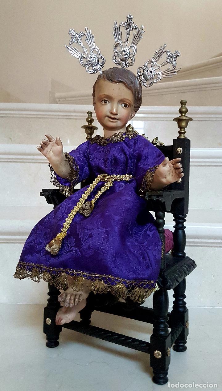 Arte: EXCEPCIONAL NIÑO JESUS EN TALLA DE MADERA ENTRONIZADO,S.XIX - Foto 14 - 82500616