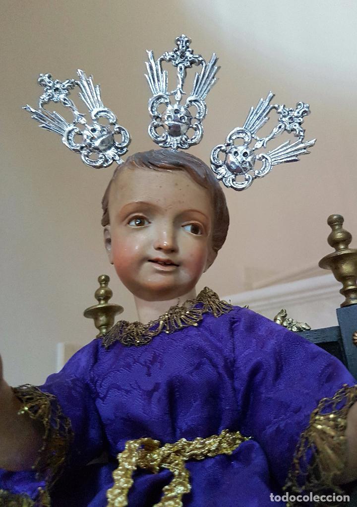 Arte: EXCEPCIONAL NIÑO JESUS EN TALLA DE MADERA ENTRONIZADO,S.XIX - Foto 15 - 82500616