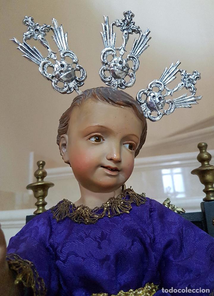 Arte: EXCEPCIONAL NIÑO JESUS EN TALLA DE MADERA ENTRONIZADO,S.XIX - Foto 16 - 82500616