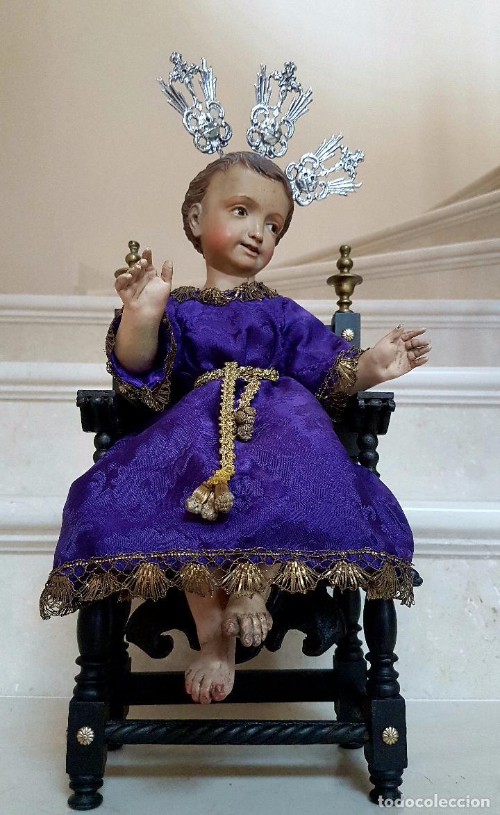 Arte: EXCEPCIONAL NIÑO JESUS EN TALLA DE MADERA ENTRONIZADO,S.XIX - Foto 18 - 82500616