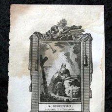 Arte: SAN GERONIMO - DOCTOR Y FUNDADOR - GRABADO DEL S.XIX - 18X11,6 CM. Lote 82706228