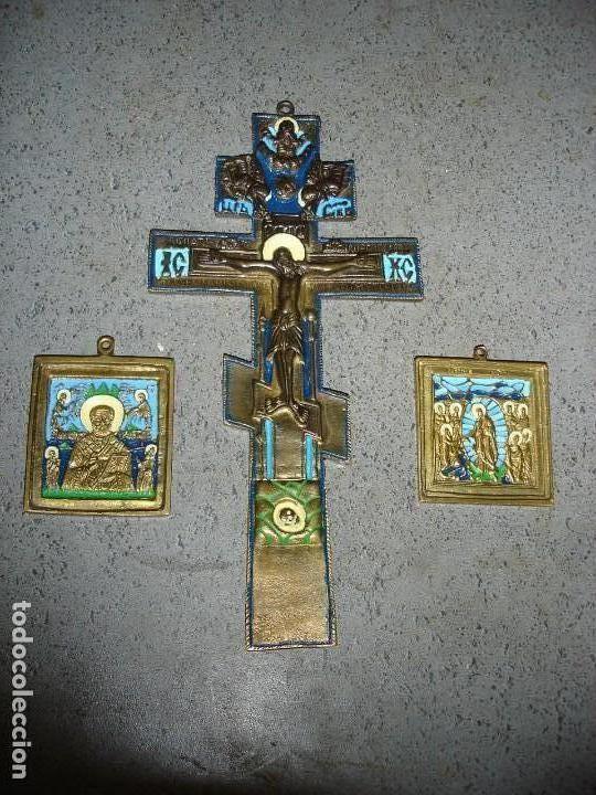 PRECIOSO LOTE DE TRES ICONOS (Arte - Arte Religioso - Iconos)