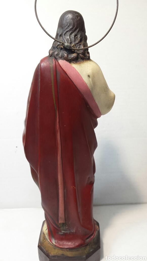 Arte: Imágen antigua Sagrado Corazón de Jesús años 20-30 Ojos de cristal Olot - Foto 3 - 83433590