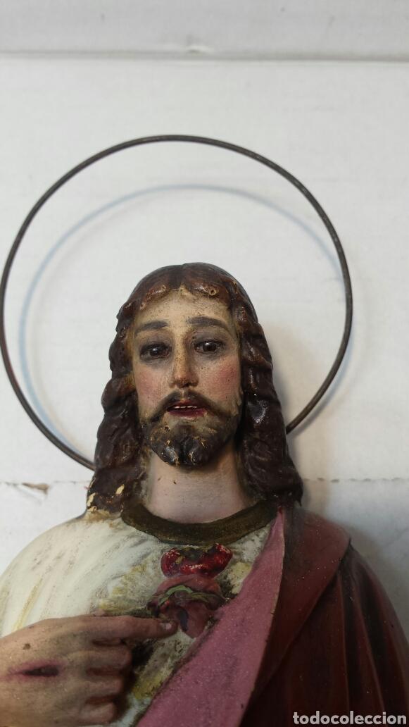 Arte: Imágen antigua Sagrado Corazón de Jesús años 20-30 Ojos de cristal Olot - Foto 5 - 83433590