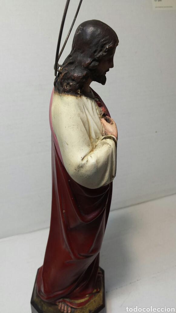 Arte: Imágen antigua Sagrado Corazón de Jesús años 20-30 Ojos de cristal Olot - Foto 6 - 83433590