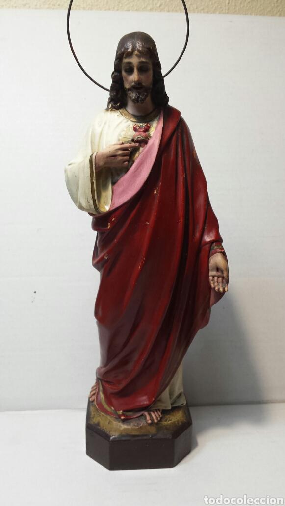 Arte: Imágen antigua Sagrado Corazón de Jesús años 20-30 Ojos de cristal Olot - Foto 2 - 83433590