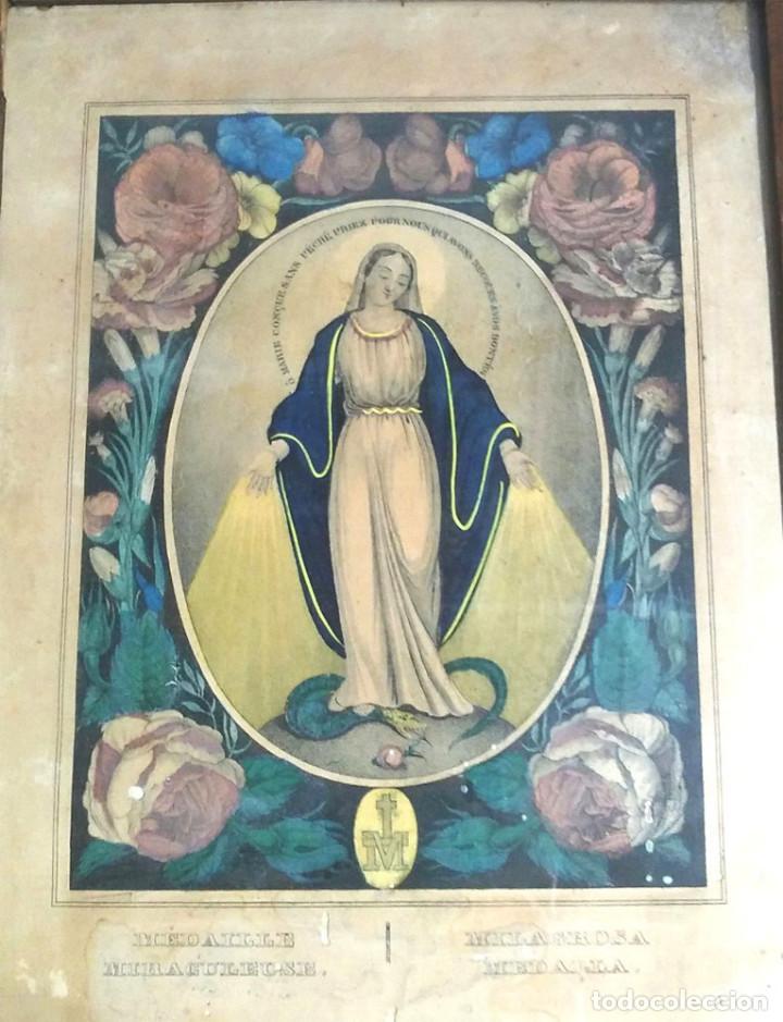 Arte: Virgen Medalla Milagrosa Grabado coloreado S XIX, marco madera de nogal. Med. 26,50 x 33 cm - Foto 2 - 85370934