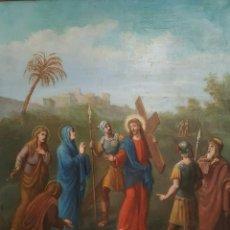 Arte: VIA CRUCIS OLEO SOBRE LIENZO S.XIX.. Lote 83640643
