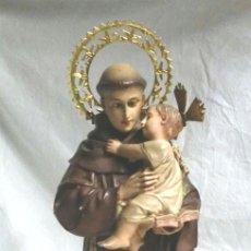 Arte: SAN ANTONIO DE PADUA, ESCUELA OLOT AÑOS 50, OJOS CRISTAL. MED 35 CM. Lote 175881898